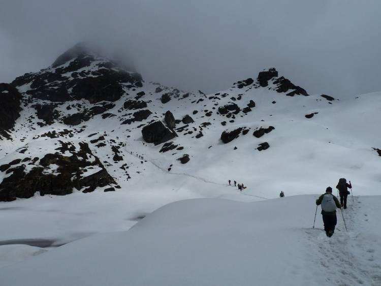 Crossing a snowy Shipton La on Makalu Base Camp trek
