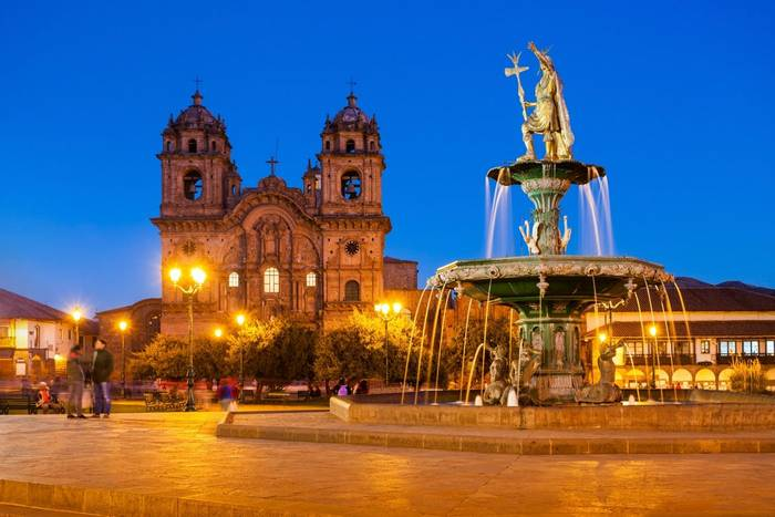 Plaza de Armas in Cusco at sunset. Plaza de Armas is a central square in Cusco, Peru. shutterstock_358804670.jpg