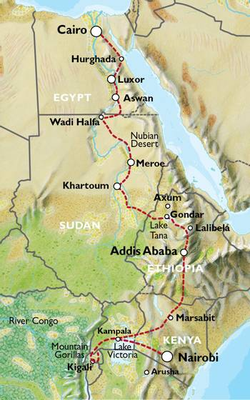 NAIROBI to CAIRO (64 days) Nile Trans