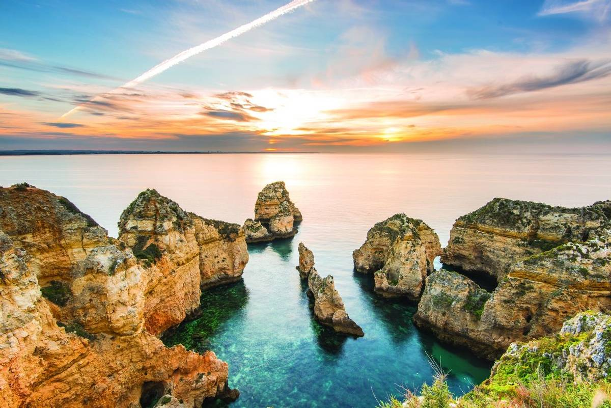 Beautiful sunrise over Ponta da Piedade,Algarve,Portugal