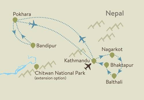 Nepal itinerary map