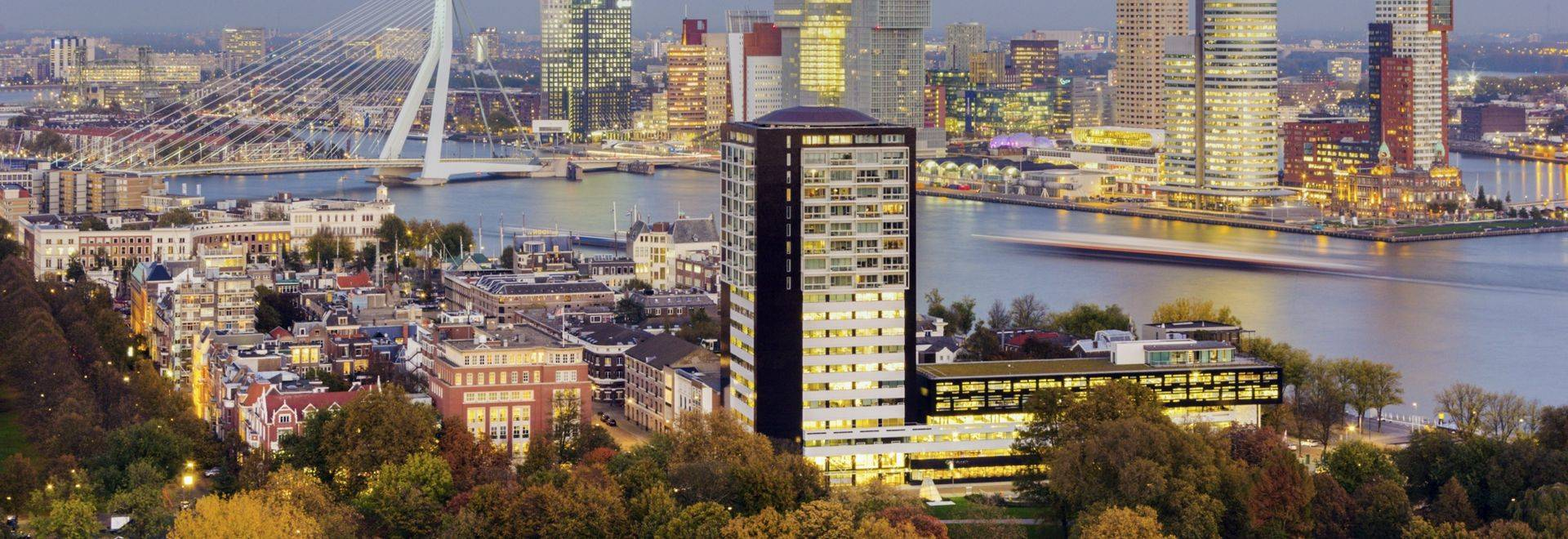 Aerial panorama of downtown Rotterdam.  Rotterdam, South Holland, Netherlands.