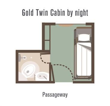 Great Southern Rail Gold Twin Cabin layout by night