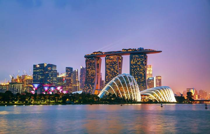 Singapore, Singapore - October 31, 2015: Overview of the marina bay with the Marina Bay Sands.