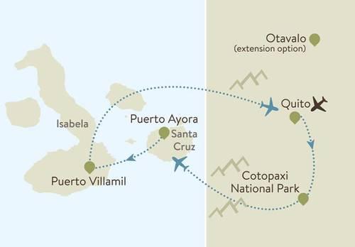 Ecuador & Galapagos Itinerary Map