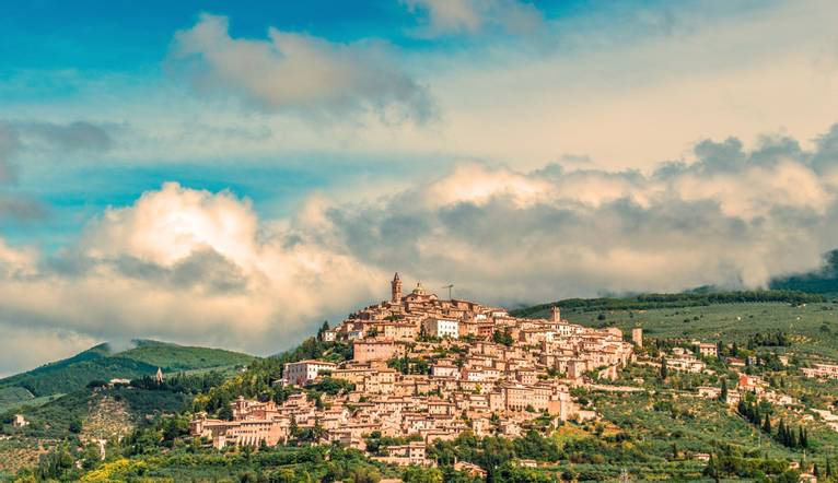 Montefalco, Province of Perugia, Umbria. The scenic hill town of Montefalco in Umbria is famous for its fine wine, fabrics a…