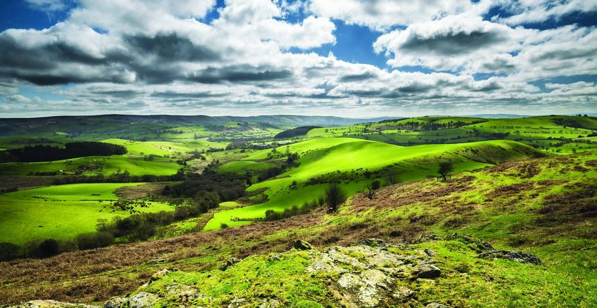 British Countryside  Green Hills at Spring