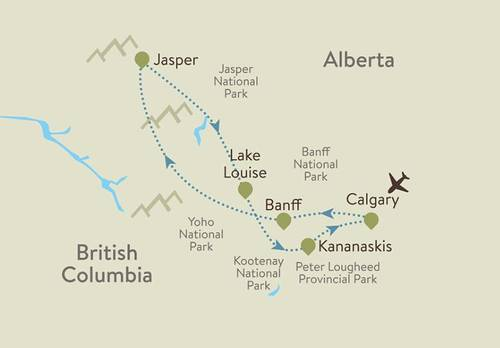 Canadian Rockies Itinerary Map
