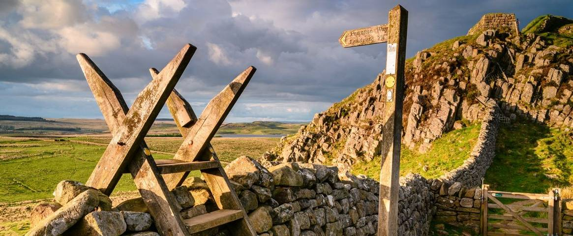 Hadrian's Wall, a UNESCO World Heritage Site in the Northumberland National Park