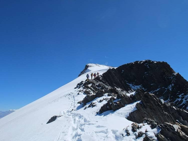 Climbing Dhampus Peak on Dhaulagiri Circuit trek in Nepal