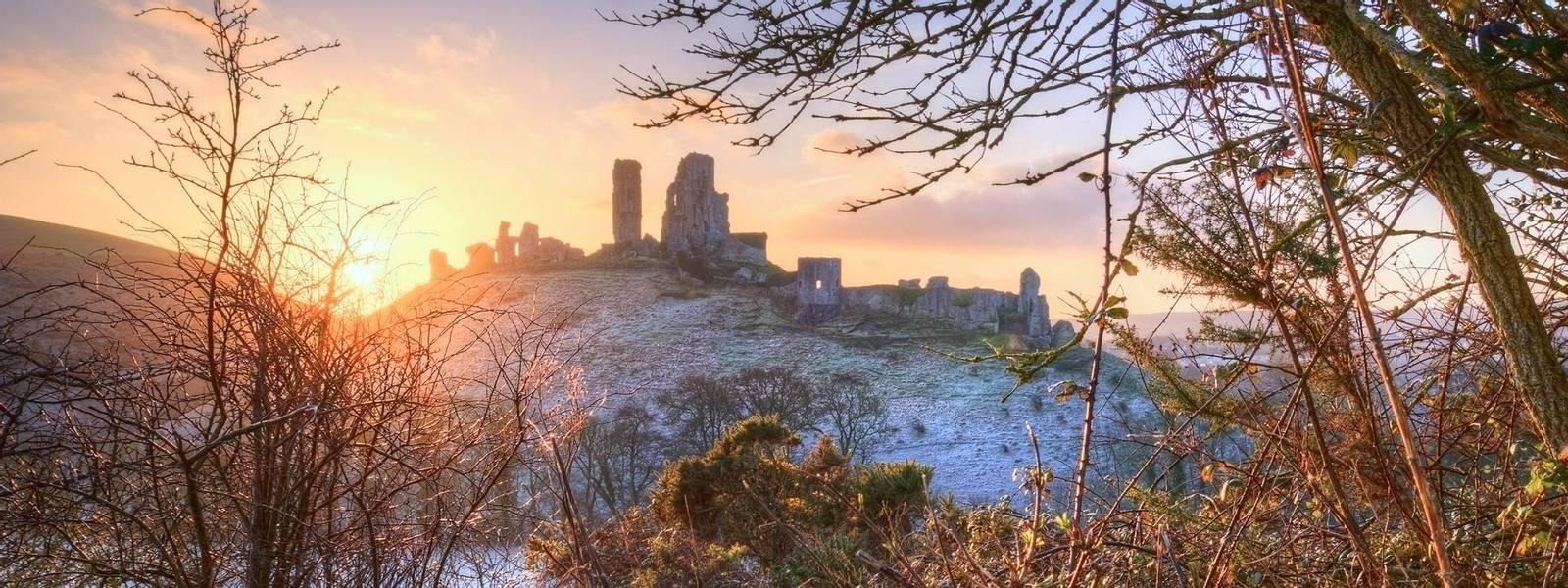 Corfe Castle Winter sunrise.