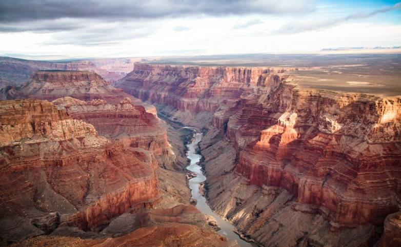 View over the south and north rim part in grand canyon from the helicopter, USA