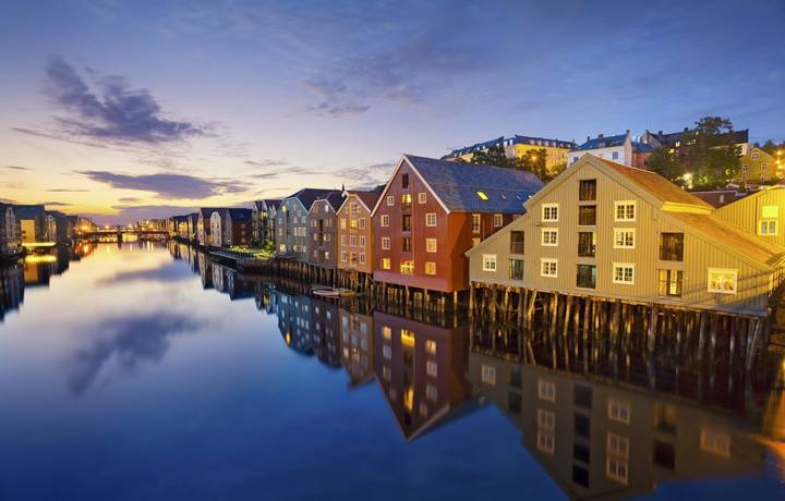 Image of norwegian city of Trondheim during twilight blue hour.