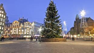 The damsquare at christmas in Amsterdam the Netherlands
