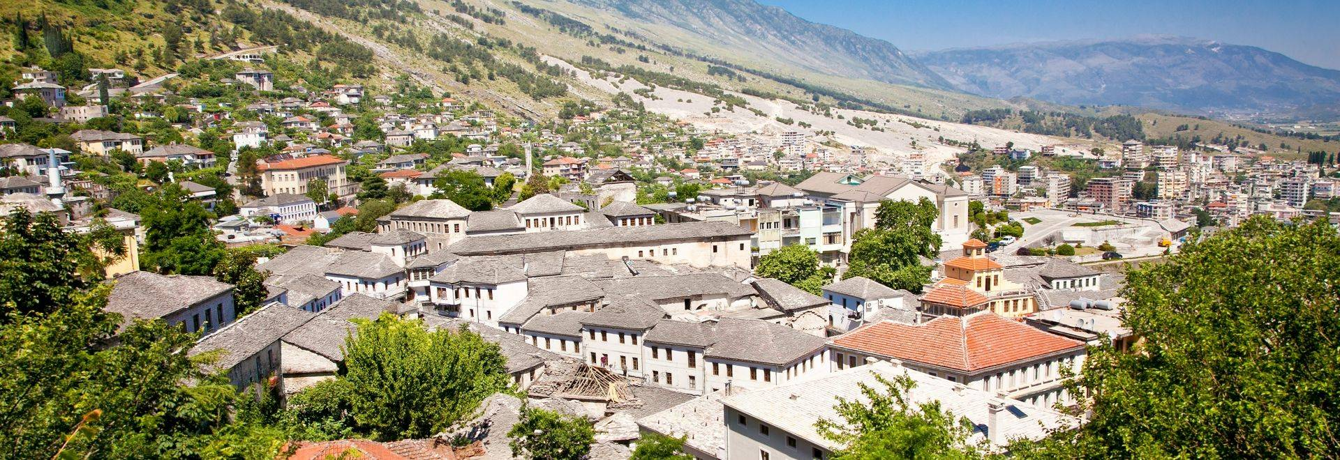 Panoramic view on Traditional albanian house in Gjirokaster, Albania.