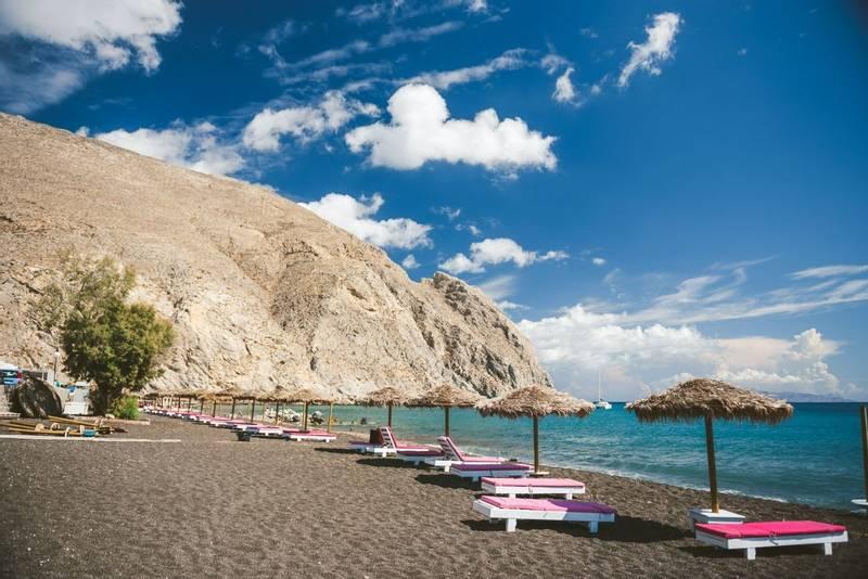 Black sand Perissa beach in Santorini