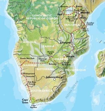 NAIROBI to CAPE TOWN (75 days) Grand Adventurer