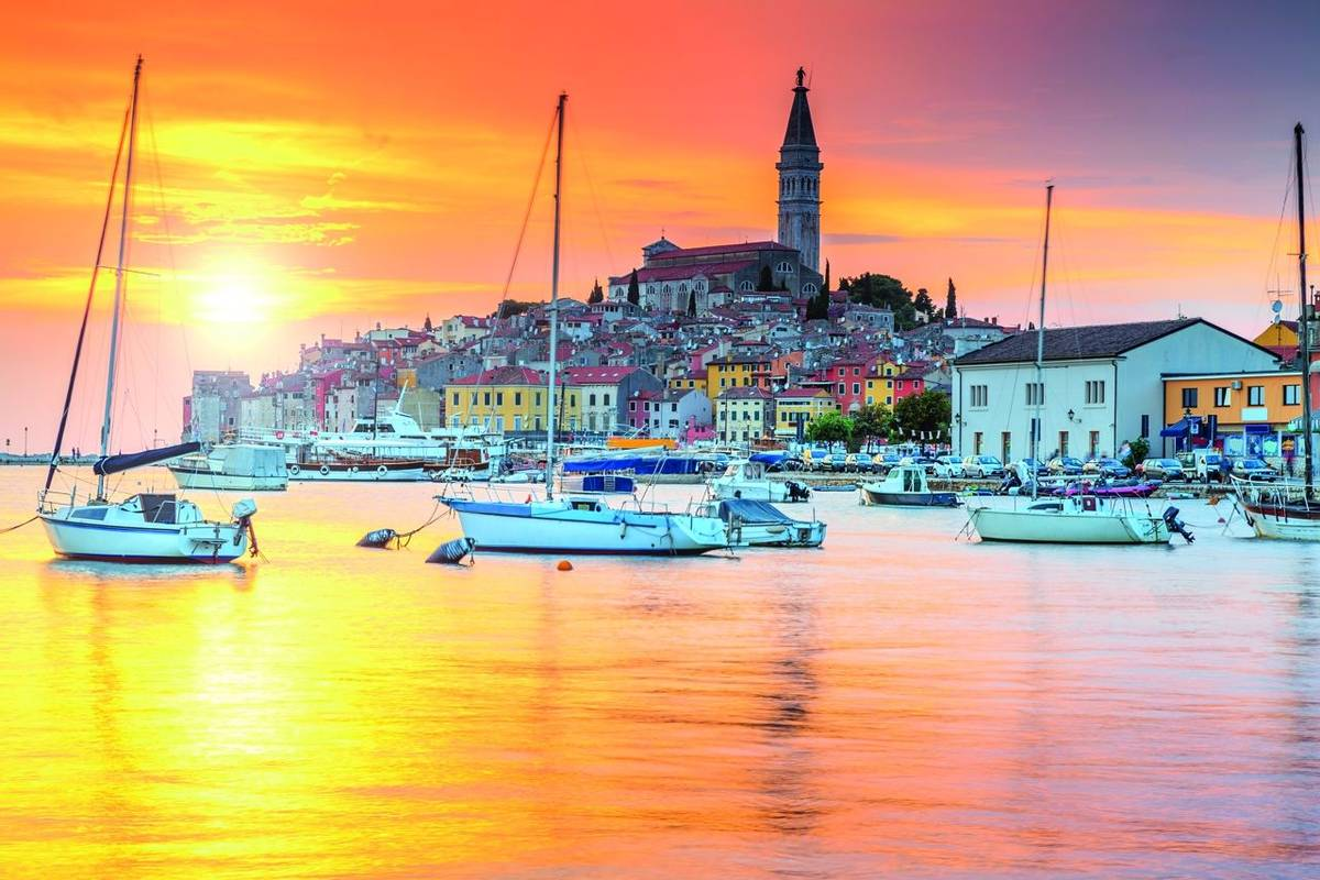 Beautiful sunset with Rovinj harbor,Istria region,Croatia,Europe