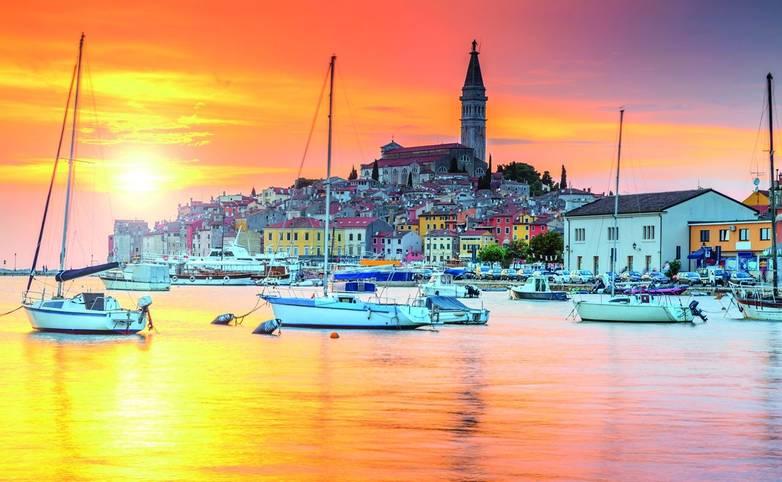 Beautiful sunset with Rovinj harbor,Istria region,Croatia,Europe