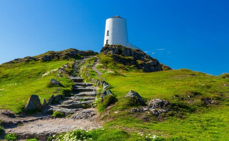 White lighthouse on Llanddwyn Island, Anglesey