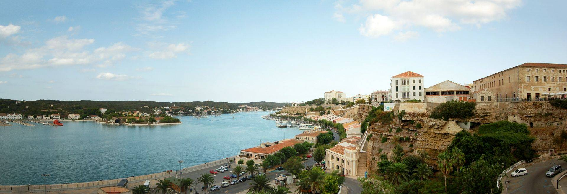 Panoramic view of old town at evening. Spain, Menorca, Mahon.