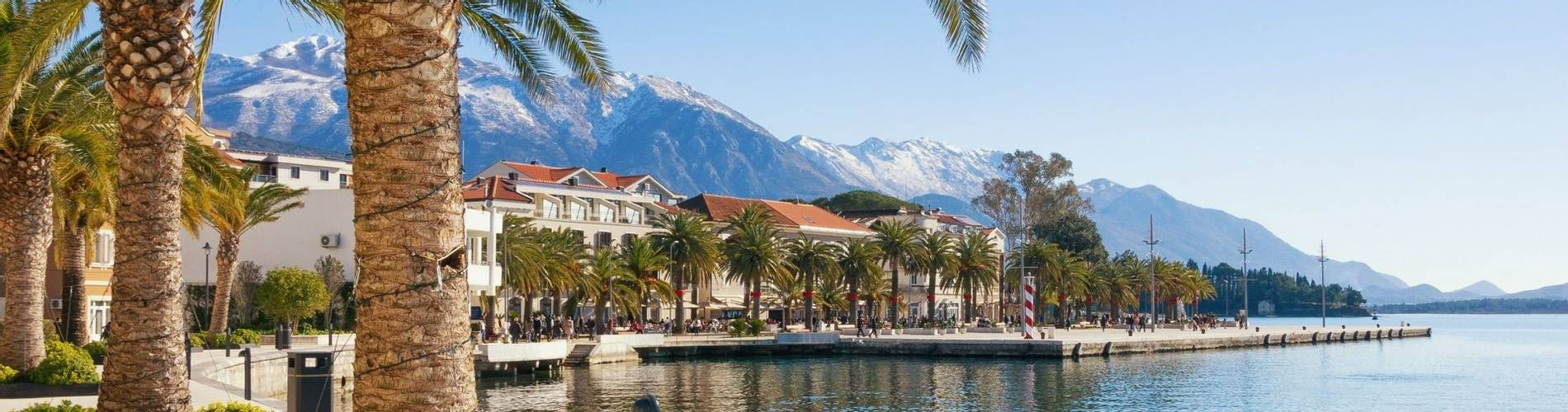 Embankment of Tivat town with Lovcen mountain in the background. Bay of Kotor(Adriatic Sea), Montenegro.jpg