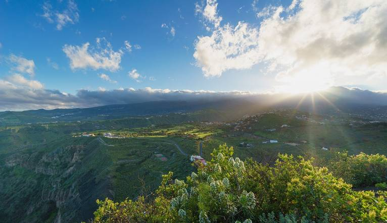 Beautiful view from Pico de Bandama on setting sun over Gran Canaria