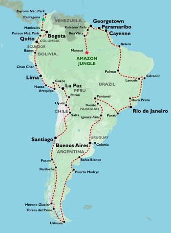 CARTAGENA to MANAUS inc. GUIANAS (27 weeks) Trans South America