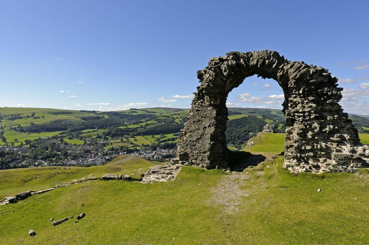 View of Castell Dinas Bran above Llangollen in Denbighshire Wales UK