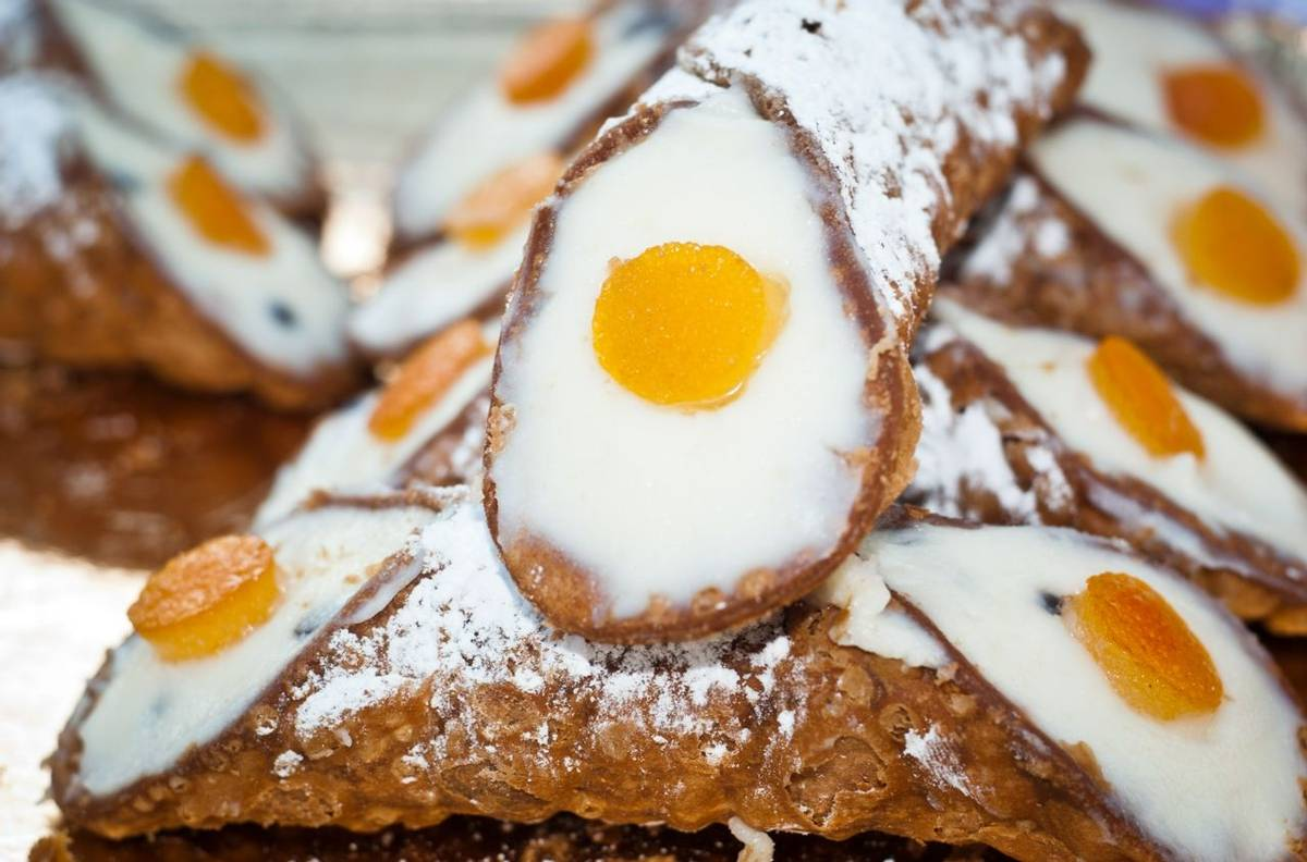 Sicilian cannoli with orange.typical sicilian sweet