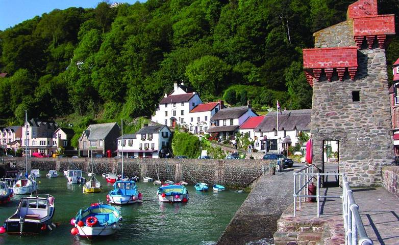 Quaint old harbour of Lynmouth in Exmoor, North Devon