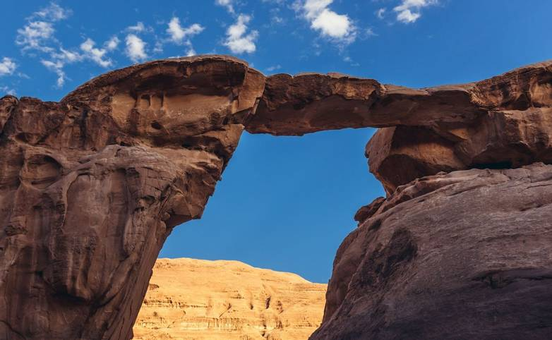 Sandstone formation called Um Fruth in Wadi Rum also known as valley of light or valley of sand in Jordan
