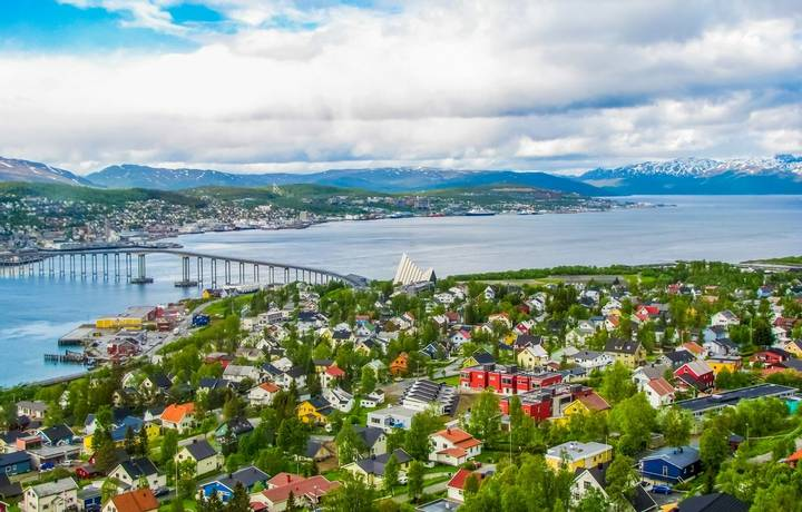Summer aerial view of Tromso, Norway