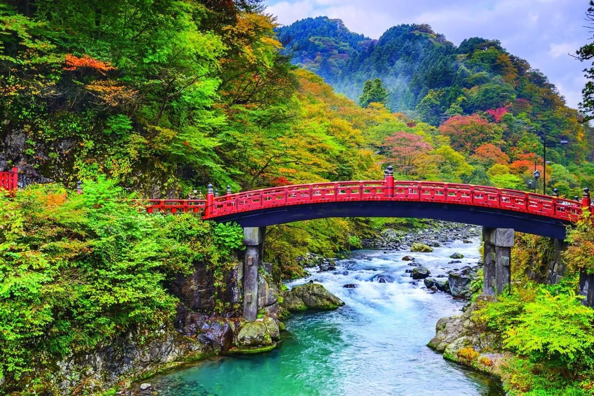 Nikko, Japan at the Shinkyo Bridge over the Daiwa River.