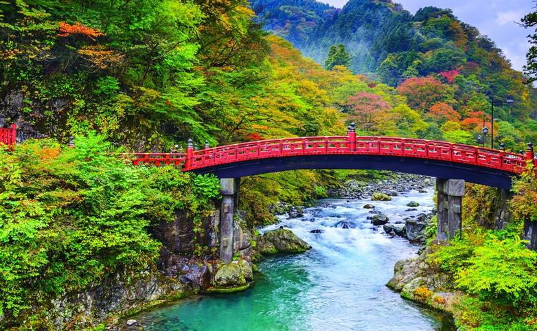 Nikko, Japan at the Shinkyo Bridge over the Daiwa River.
