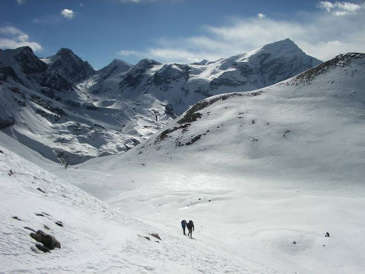 Descending Thorong La on Annapurna Circuit in Nepal