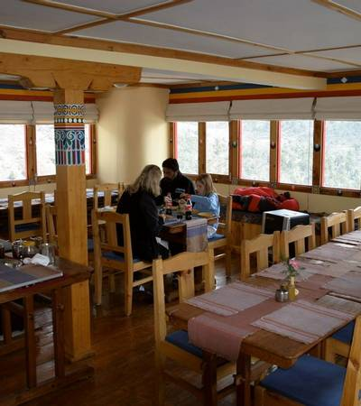Dining room at Everest Summit Lodge in Pangboche