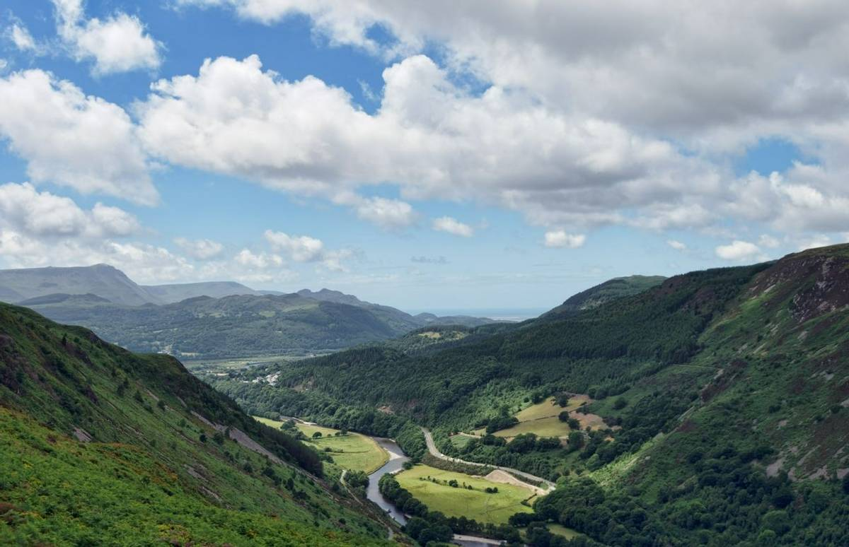 An aerial view of the Afon Mawddach and Estuary viewed from the Precipice Walk near Dolgellau, Gwynnedd, North Wales
