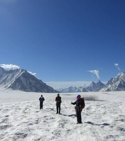 Walking across Snow Lake