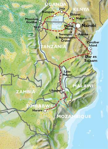 NAIROBI to HARARE (41 days) Apes & Lakes