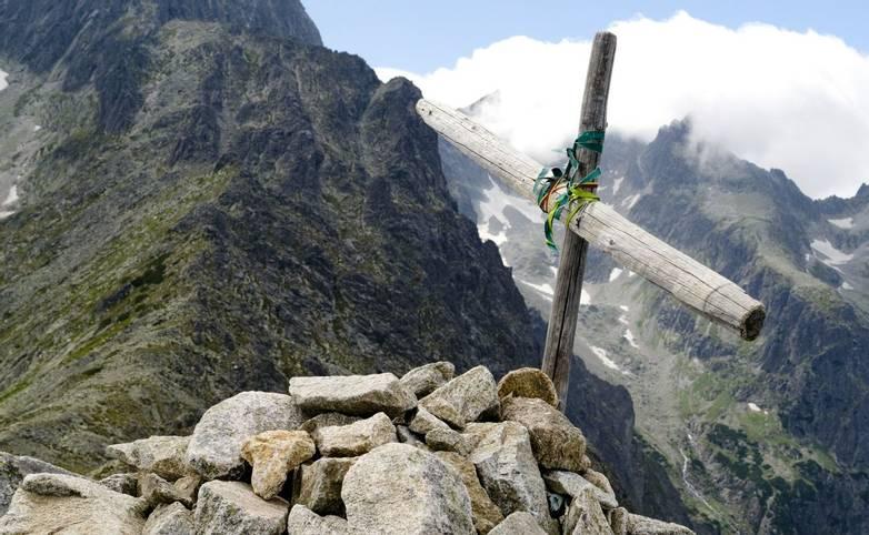 Wooden cross on top of the mountain Velka Svistovka in Tatra Mountains, Slovakia.