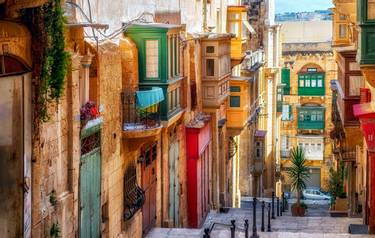 Narrow street in Valletta - the capital of Malta.,