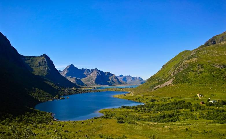 Panoramic view to Storvatnet and Litlvatnet lakes at Flakstadoya Island, Lofoten, Norway
