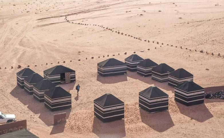 Bedouin tourist tents in the Wadi Rum desert in Jordan