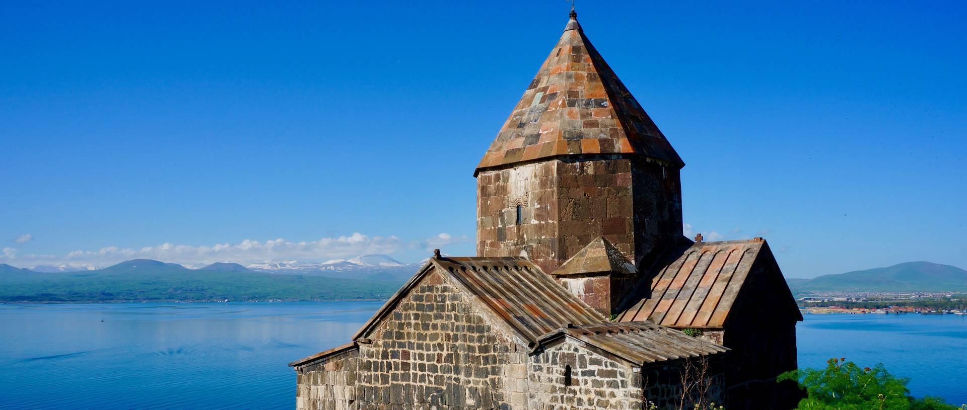 Sevanavank Monastery Overlooking Lake Sevan.