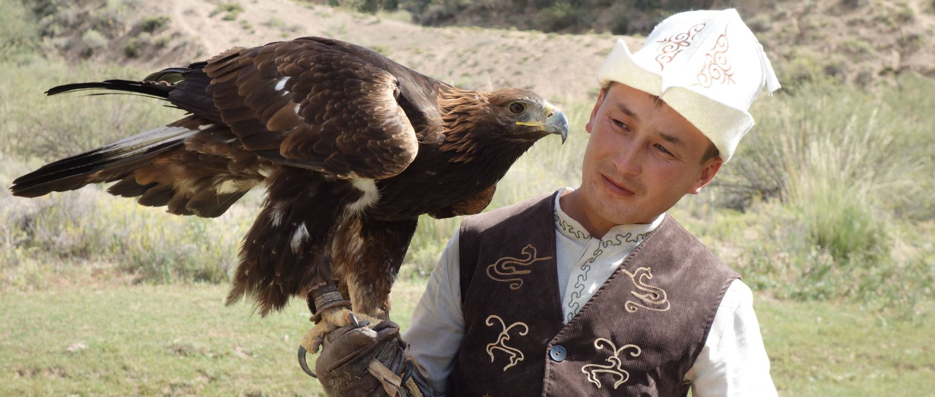 Traditional Eagle Hunter showing his Falconry skills to the group