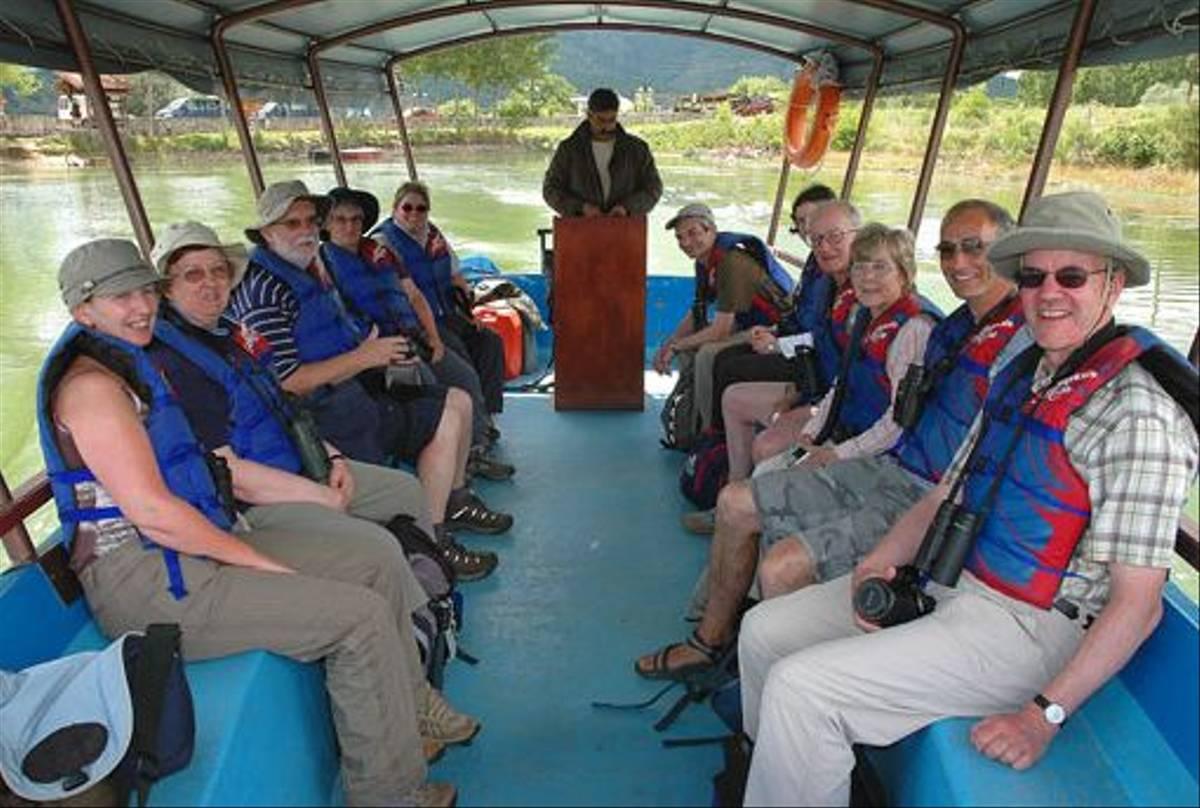 Naturetrek clients setting out onto Lake Kerkini (David Morris)