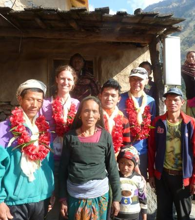 Traditional welcome at Khading village (2,025m)