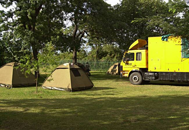 African overland truck and tents