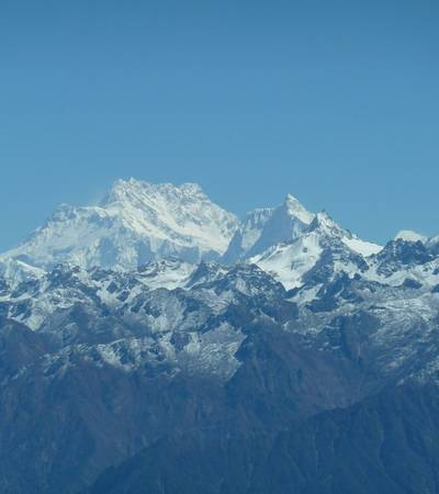 View from ridge above Cave Camp with Mount Kanchenjunga